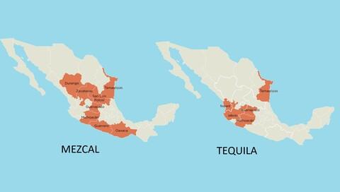 regioner for tequila og mezcal produskjon