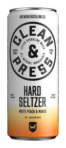 En boks med Clean & Press Hard Seltzer White Peach & Mango.